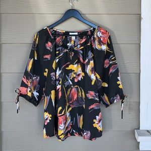 Loft Floral Blouse with Tie Sleeve
